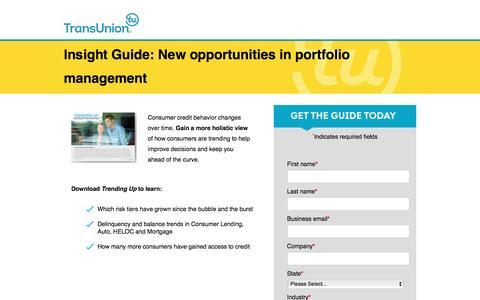 Screenshot of Landing Page transunion.com - Portfolio Management Best Practices - captured Aug. 19, 2016