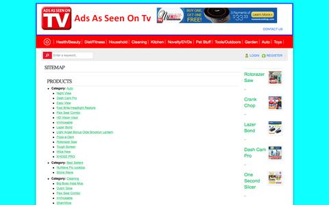 Screenshot of Site Map Page adsasseenontv.com - sitemap - As Seen On Tv Products-AdsAsSeenOnTv.com - captured May 30, 2016