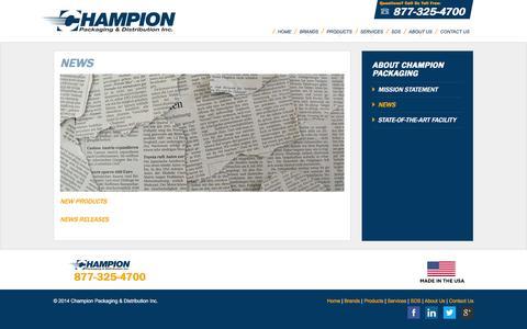 Screenshot of Press Page champakinc.com - News | Champion Packaging - captured Jan. 27, 2016