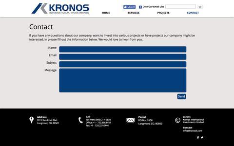 Screenshot of Contact Page kronosinternationalinvestments.com - Kronos International Investments Limited - captured Nov. 27, 2016