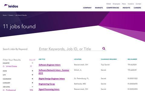 Screenshot of Jobs Page leidos.com - Leidos - Intern Defense  Careers - captured Jan. 29, 2019