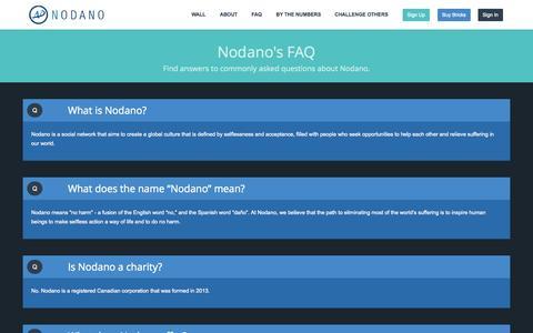 Screenshot of FAQ Page nodano.com - Nodano - Social Networking with a Purpose - captured Oct. 29, 2014