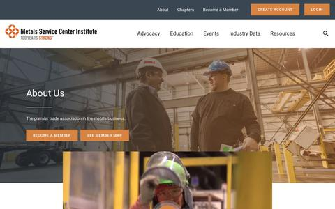 Screenshot of About Page msci.org - About – The Metals Service Center Institute - captured Oct. 18, 2018