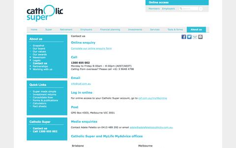 Screenshot of Contact Page csf.com.au - Catholic Super - Contact us - captured Oct. 6, 2017