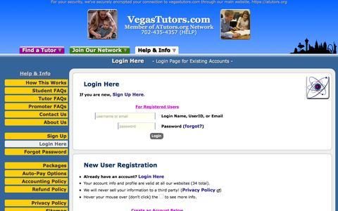 Screenshot of Login Page atutors.org - VegasTutors.com: Login Here - Login Page for Existing Accounts - captured Dec. 19, 2016