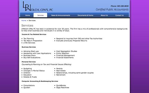 Screenshot of Services Page lpwolch.com - Services - LP Wolch, CPA's P.C. - captured Oct. 1, 2014