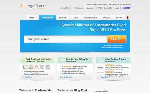 Screenshot of Home Page trademarkia.com - Free Trademark Search Online | Trademark filing & Trademark Registration Application | Online Corporations, Trademark Services, and others - captured Sept. 17, 2014