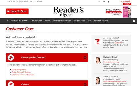 Screenshot of FAQ Page rdasia.com - Customer Care | Reader's Digest - captured Sept. 22, 2018