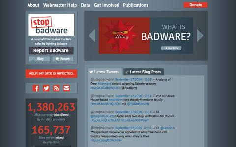 Screenshot of Home Page stopbadware.org - StopBadware | A nonprofit organization that makes the Web safer through the prevention, mitigation, and remediation of badware websites. - captured Sept. 19, 2014
