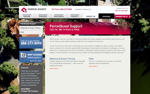 Screenshot of Support Page parcelquest.com - Support | Webinar Training, Online Tutorials & FAQs | ParcelQuest - captured Sept. 24, 2014