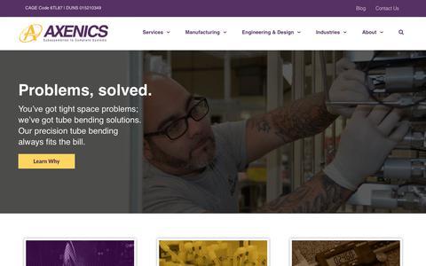 Screenshot of Home Page axenics.com - Welding Services | Pipe Bending | Weld Testing Services | Axenics - captured July 31, 2018