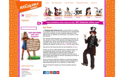Screenshot of Team Page masqueradecostumes.com.au - Masquerade Costume Hire Melbourne customer service - Unique Custom made costumes and excellent service is our specialty! - captured Oct. 27, 2014