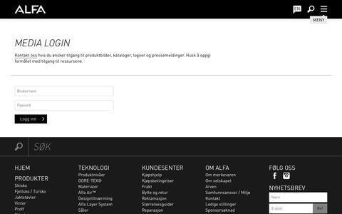 Screenshot of Press Page alfa.no - Media Login - Alfa Sko - captured Oct. 8, 2017