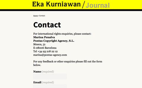 Screenshot of Contact Page ekakurniawan.com - Contact | Eka Kurniawan - captured Sept. 28, 2015