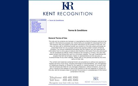 Screenshot of Terms Page kentandcompany.com - Silver Trophies - Silver Awards - Trophies & Awards from Kent Recognition - Toronto, Ontario Canada - captured Oct. 6, 2014