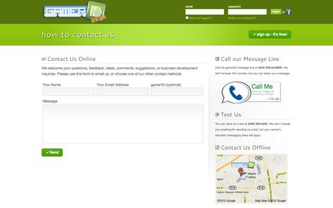 Screenshot of Contact Page gamerid.com - gamerID - How to Contact Us - captured Sept. 30, 2014
