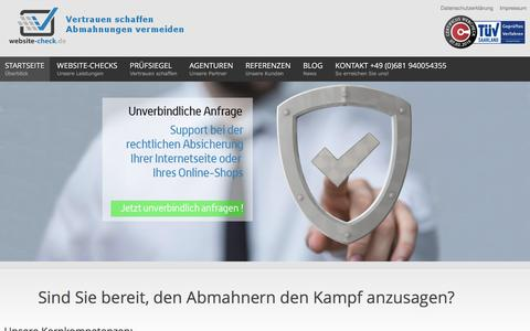 Screenshot of Home Page website-check.de - Website-Check.de Gütesiegel - Online-Shop Abmahnungen vermeiden - Rechtssichere Internetseiten - website-check.de - captured Feb. 7, 2016