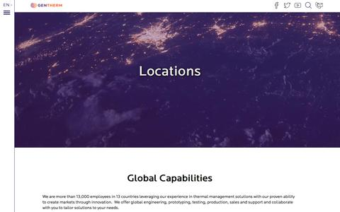 Screenshot of Locations Page gentherm.com - Locations | Gentherm - captured July 17, 2018