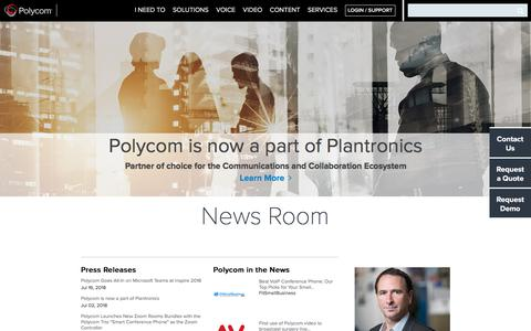 Screenshot of Press Page polycom.com - News Room - Read the latest press releases and articles - Polycom, Inc - captured Aug. 19, 2018
