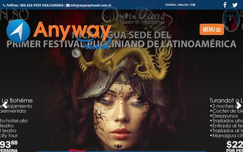 Screenshot of Home Page anywaytravel.com.ni - Anyway Travel | agencia de viajes y tour operador : Anyway Travel - captured Feb. 6, 2016