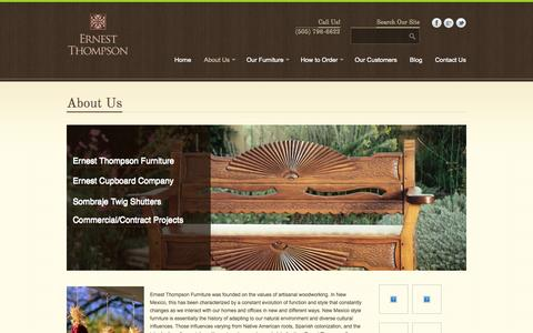 Screenshot of About Page ernestthompson.com - About Ernest Thompson Furniture | Albuquerque Custom Designs - captured Oct. 8, 2014