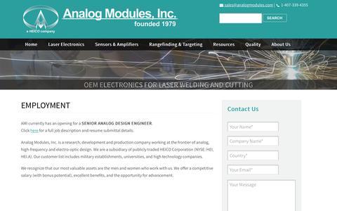 Screenshot of Jobs Page analogmodules.com - Employment - Analog Modules - captured Dec. 3, 2016