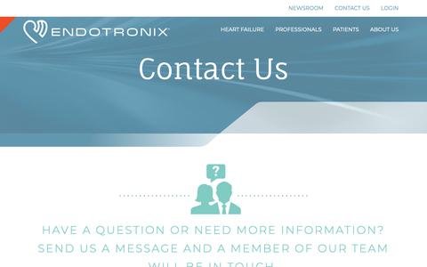 Screenshot of Contact Page endotronix.com - Contact Us - Endotronix - captured Nov. 3, 2018
