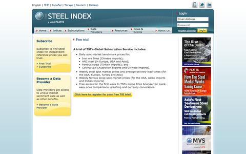 Screenshot of Trial Page thesteelindex.com - The Steel Index > Subscriptions > Free Trial Intro > Free trial - captured Nov. 5, 2014