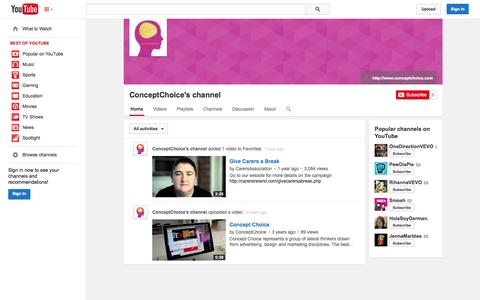 Screenshot of YouTube Page youtube.com - ConceptChoice's channel  - YouTube - captured Oct. 23, 2014