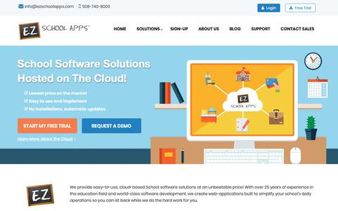 Screenshot of Home Page ezschoolapps.com - EZ School Apps || School Software in the Cloud (Hosted Online) - captured Jan. 4, 2019