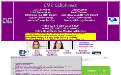Screenshot of FAQ Page cmkcellphones.com - FAQ PAGE of Cmk Cellphones Philippines - captured Feb. 20, 2016