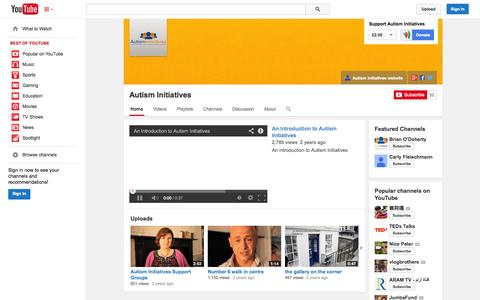 Screenshot of YouTube Page youtube.com - Autism Initiatives  - YouTube - captured Oct. 23, 2014