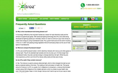 Screenshot of FAQ Page zitroz.com - Frequently Asked Questions | Zitroz - captured Oct. 7, 2014