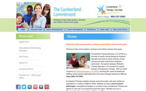 Screenshot of Home Page cumberlandtherapy.com - School Speech Pathologist - Healthcare Staffing Agencies - Chicago, IL, Indianapolis, IN, Baltimore, MD - captured Feb. 2, 2016