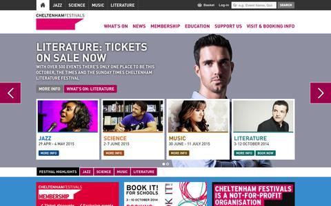 Screenshot of Home Page Menu Page cheltenhamfestivals.com - Home - Cheltenham Festivals - captured Sept. 25, 2014