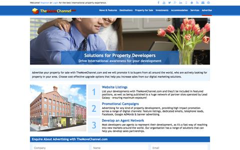 Screenshot of Developers Page themovechannel.com - Solutions for Property Developers - Drive international awareness for your development - captured Feb. 11, 2016