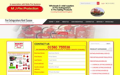 Screenshot of Contact Page mjfireprotection.co.uk - Contact Us - Fire Extinguishers Kent Sussex - captured July 8, 2016