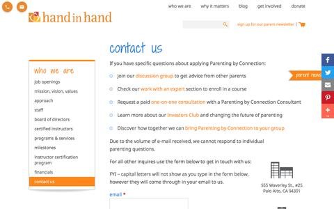Screenshot of Contact Page handinhandparenting.org - Contact for Hand in Hand Parenting | Improve Parent Child Connections and Communications | Palo Alto, CA - captured May 14, 2017