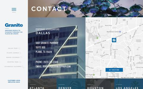 Screenshot of Contact Page graniteprop.com - Contact | Granite Properties | Dallas, TX - captured Aug. 29, 2017