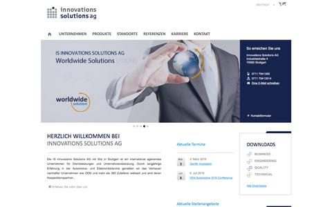 Screenshot of Home Page innovations-solutions.com - Innovations Solutions AG / Industriestraße 4, 70565 Stuttgart — Innovations Solutions AG - captured Feb. 4, 2016