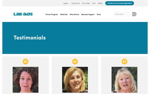 Screenshot of Testimonials Page lab-aids.com - What People are Saying | Lab Aids - captured July 7, 2017