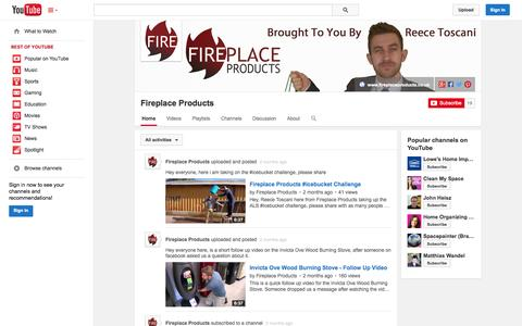 Screenshot of YouTube Page youtube.com - Fireplace Products  - YouTube - captured Oct. 23, 2014