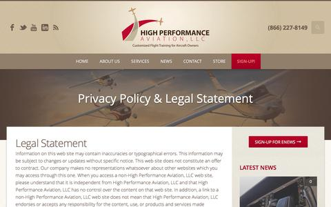 Screenshot of Terms Page flyhpa.com - Privacy Policy & Legal Statement | High Performance Aviation, LLC | Customized Flight Training for Aircraft Owners - captured Nov. 8, 2016