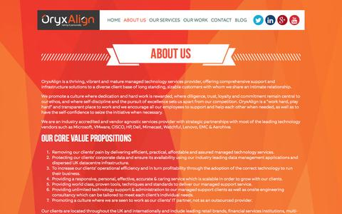 Screenshot of About Page oryxalign.com - About Us | Managed Technology Services Provider | OryxAlign - captured Feb. 28, 2016