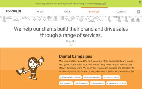Screenshot of Services Page brandlift.eu - Services @ Brandlift, a next generation digital & social media agency - captured Nov. 13, 2018