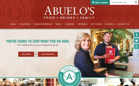 Screenshot of Jobs Page abuelos.com - Abuelo's Mexican Restaurant Located In Texas, Indiana, Ohio, Oklahoma, Tennessee, Arizona, Florida, Kansas, Virginia, Arkansas, Kentucky, Missouri, and South Carolina - Careers - captured Sept. 22, 2018