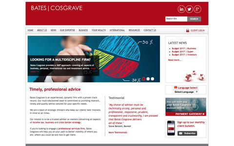 Screenshot of Menu Page batescosgrave.com.au - Bates Cosgrave | Chartered Tax Accountants | North Sydney - captured June 1, 2017