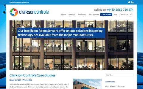 Screenshot of Case Studies Page clarksoncontrols.co.uk - Case Studies - Clarkson Controls - captured Sept. 28, 2018