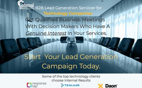Screenshot of Landing Page internalresults.com - Technology Lead Generation For Technology Companies - captured April 20, 2018