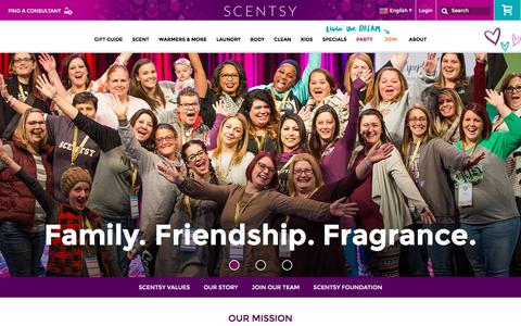Screenshot of About Page scentsy.com - Corporate Brand,  Fragrances & Home Fragrance Décor Systems | All About Scentsy, Inc. - captured Nov. 19, 2017